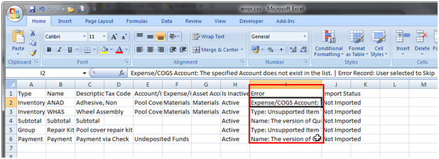 Importing QuickBooks Inventory with Excel - Practical QuickBooks ...