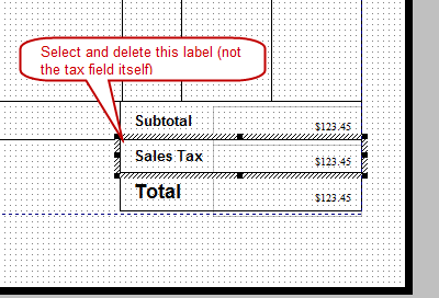 Delete sales tax label