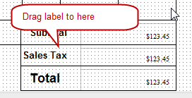 Drag sales tax label to position