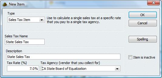 Sales Tax Item