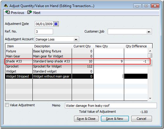 Quickbooks Inventory Quantity And Value Adjustments