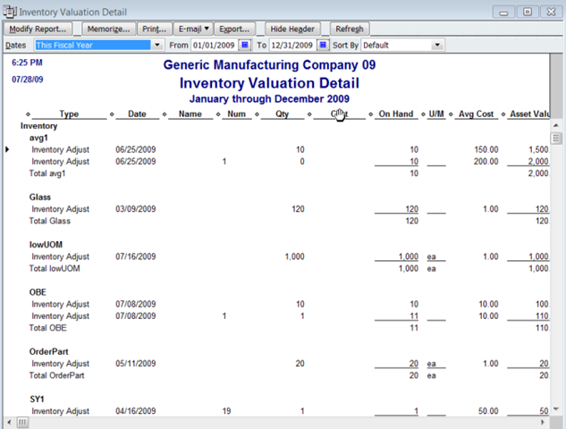 Printing a QuickBooks Inventory Adjustment Report - Practical