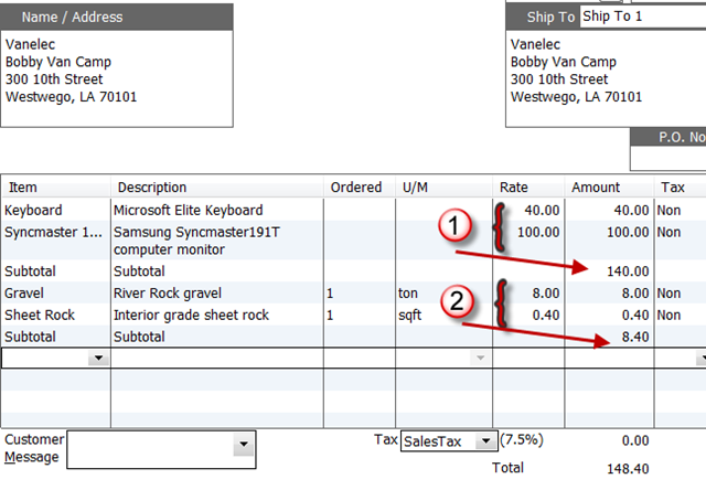 Using Subtotals In Quickbooks Orders Practical