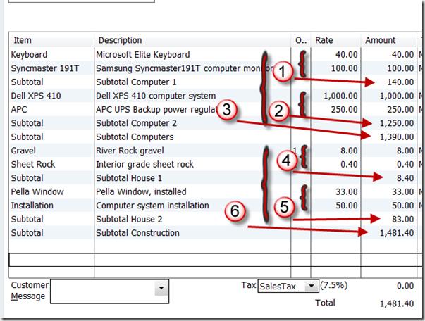 Using Subtotals In QuickBooks Orders Practical QuickBooks - Quickbooks invoice subtotal