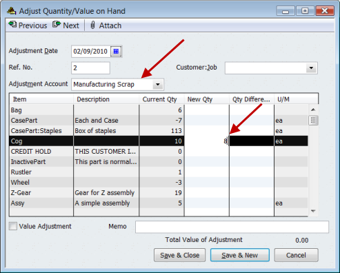 how to delete inventory adjustment in quickbooks