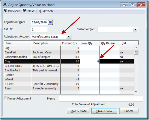 QuickBooks Inventory Adjustment