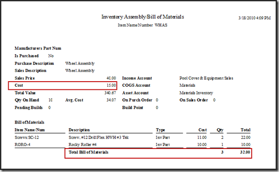 QuickBooks item cost in BOM
