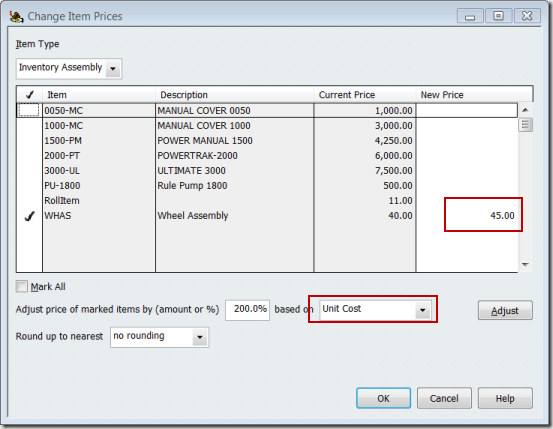 QuickBooks Change Item Prices