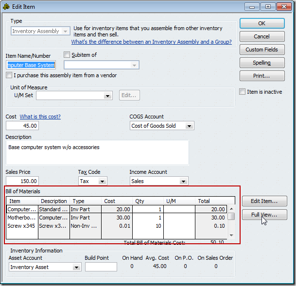 Item Types in a QuickBooks Bill of Materials - Practical