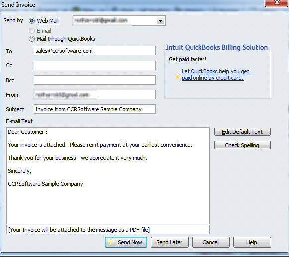 QuickBooks And Web Mail Practical QuickBooks Practical - Send invoice quickbooks