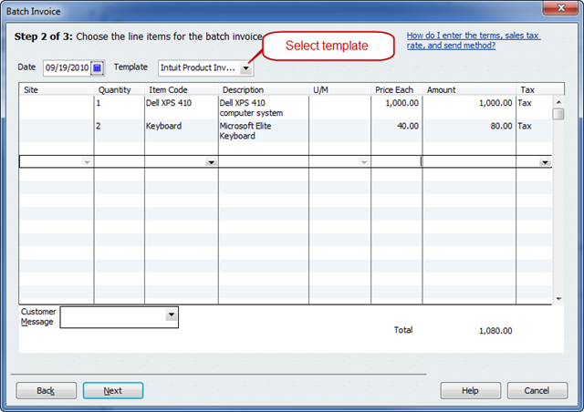 quickbooks 2011 - batch invoicing - practical quickbooks, Invoice examples