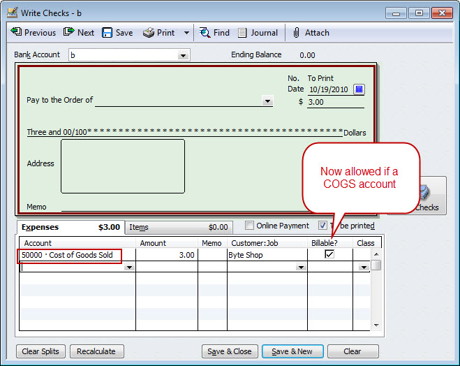 QuickBooks COGS Billable