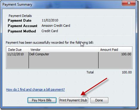 QuickBooks 2011 Payment Stub