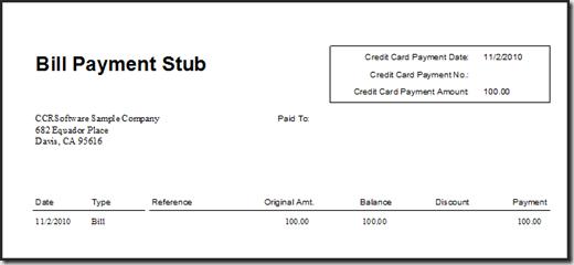 QuickBooks 2011 Bill Payment Stub