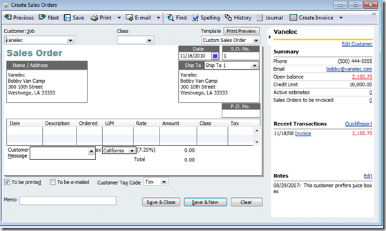 QuickBooks History Pane on Sales Orders