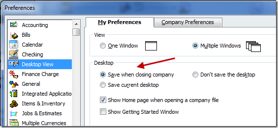QuickBooks Desktop View Preferences