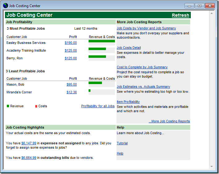 QuickBooks Job Costing Center