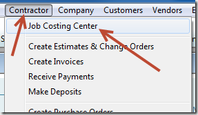 Job Costing Center from Contractor menu