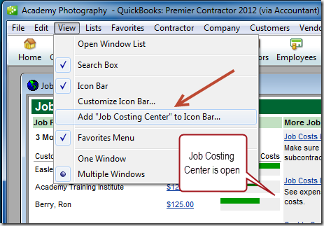 Add the Job Costing Center icon