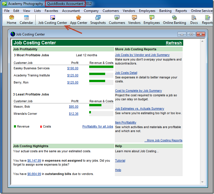 Job Costing Center in the Accountant icon bar