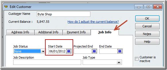 Customer Job Info