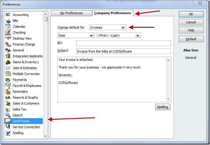QuickBooks Send Forms preference