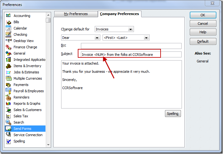 Updating the QuickBooks Send Forms preference