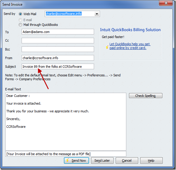 QuickBooks email with the invoice number