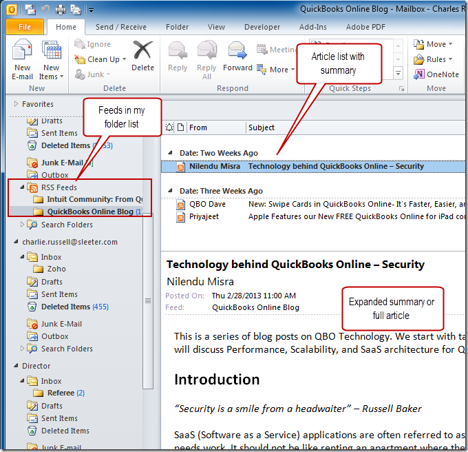 Outlook RSS Feeds