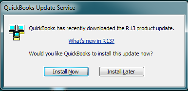 Old style of QuickBooks Update Notice